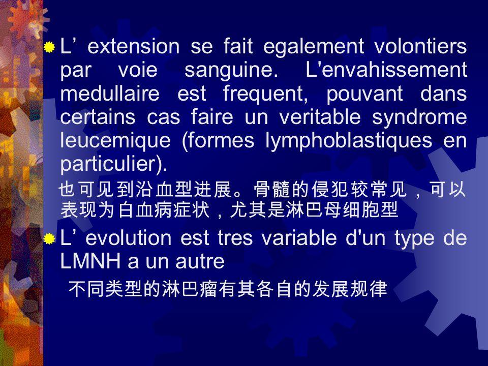 Les lymphomes nodulaires sont d' evolution lente.