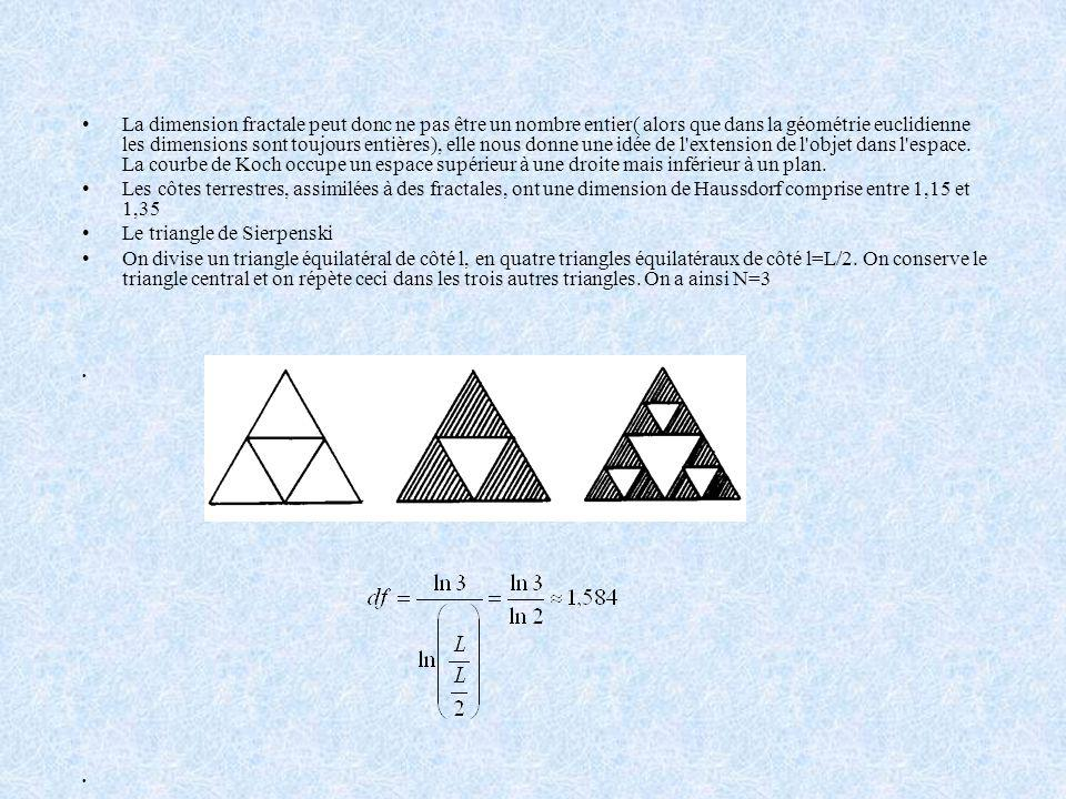 Chaque côté du triangle, mesurant L, est découpé en 3 segments de longueur l=L/3, on obtient N= 4 segments de même longueur. Où df est la dimension de