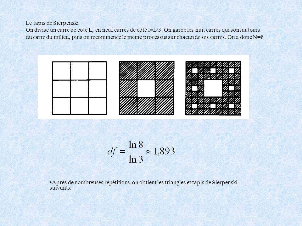 La dimension fractale peut donc ne pas être un nombre entier( alors que dans la géométrie euclidienne les dimensions sont toujours entières), elle nou