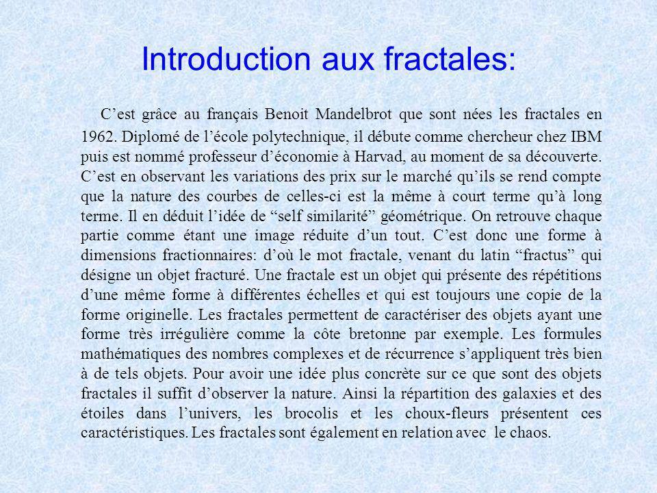 Fiche de présentation: Introduction aux fractales I Les formules mathématiques à savoir II Ensembles Julia et Mandelbrot III La dimension fractale et
