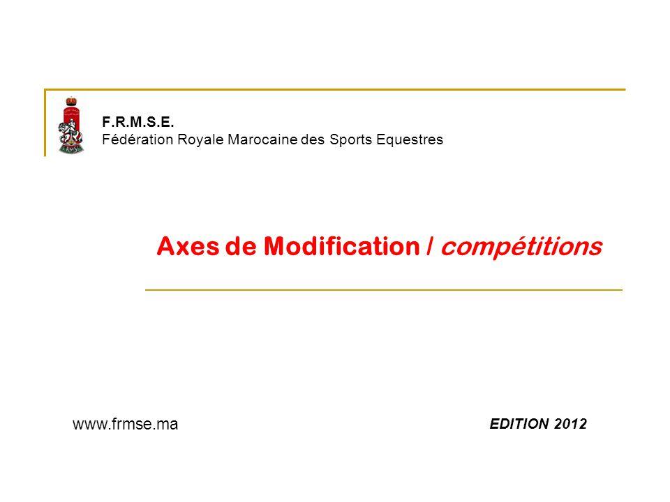 F.R.M.S.E. Fédération Royale Marocaine des Sports Equestres Axes de Modification / compétitions EDITION 2012 www.frmse.ma