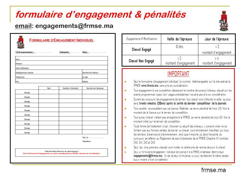 formulaire d'engagement & pénalités email: engagements@frmse.ma frmse.ma Engagements & Modifications Veille de l'épreuveJour de l'épreuve Cheval Engag