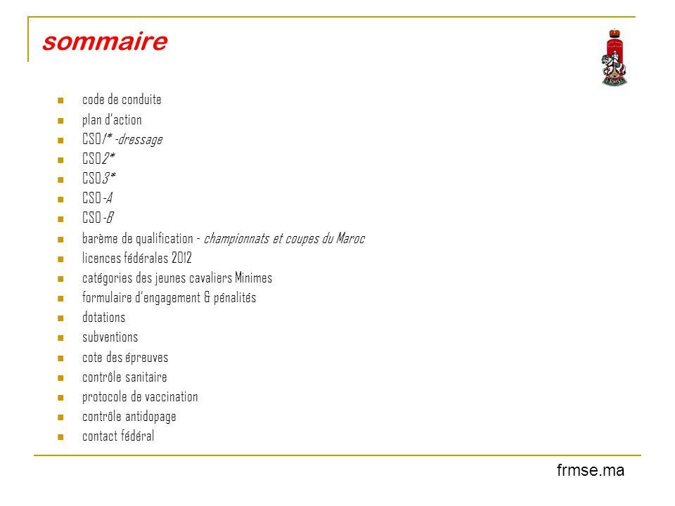 code de conduite POUR LE BIEN ETRE DES PONEYS/CHEVAUX La Fédération Royale Marocaine des Sports Equestres (FRMSE) attend de toutes les personnes concernées par le sport équestre qu'elles adhèrent au code de conduite en reconnaissant et acceptant que le bien être du poney/cheval soit en tout temps considéré comme souverain.