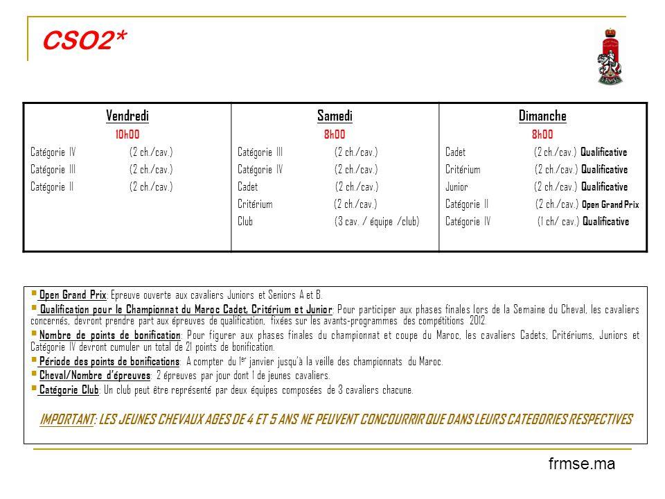 CSO2*  Open Grand Prix : Epreuve ouverte aux cavaliers Juniors et Seniors A et B.  Qualification pour le Championnat du Maroc Cadet, Critérium et Ju