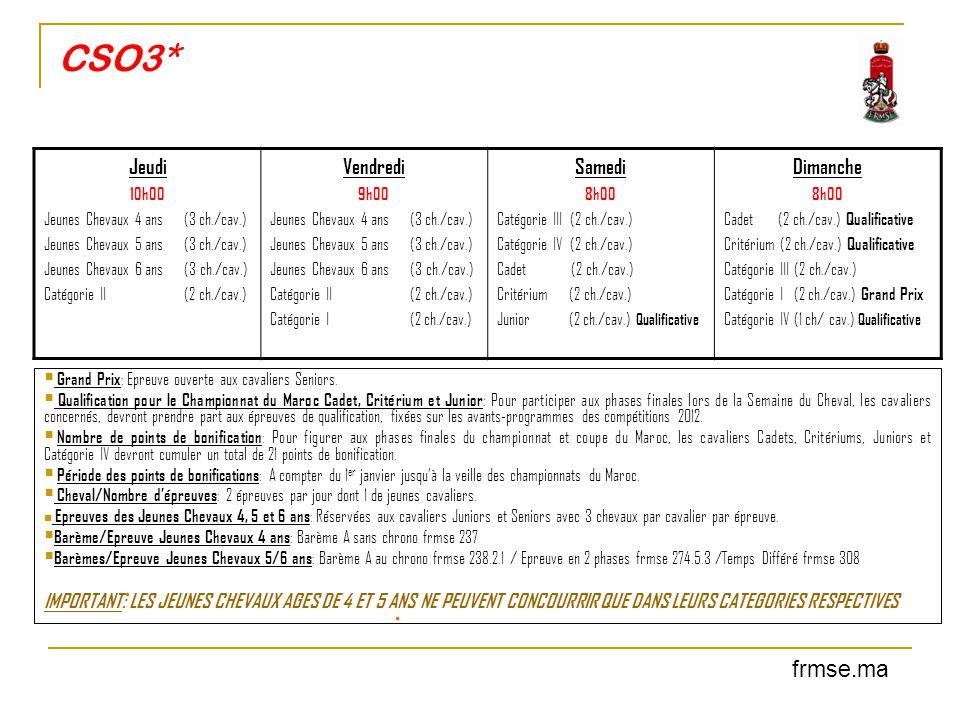 CSO3*  Grand Prix : Epreuve ouverte aux cavaliers Seniors.  Qualification pour le Championnat du Maroc Cadet, Critérium et Junior : Pour participer