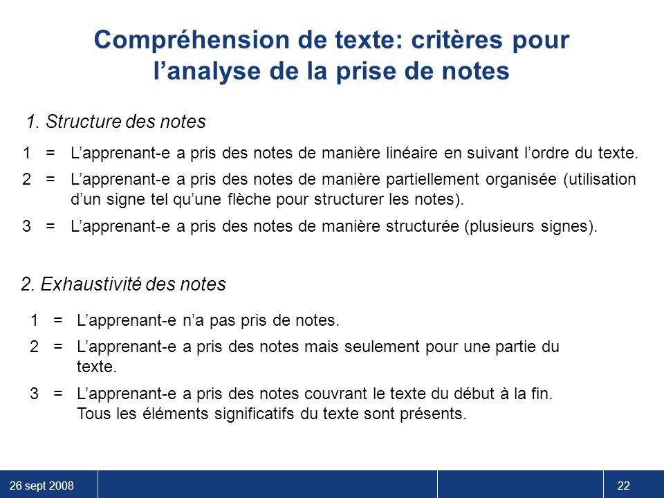 26 sept 2008 22 Compréhension de texte: critères pour l'analyse de la prise de notes 1=L'apprenant-e n'a pas pris de notes. 2=L'apprenant-e a pris des