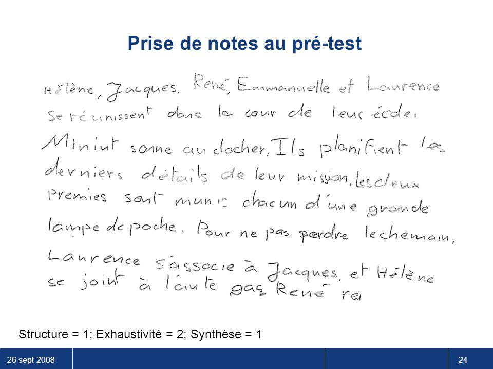 26 sept 2008 24 Prise de notes au pré-test Structure = 1; Exhaustivité = 2; Synthèse = 1