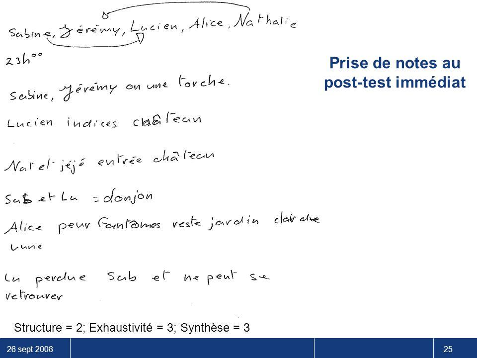 26 sept 2008 25 Prise de notes au post-test immédiat Structure = 2; Exhaustivité = 3; Synthèse = 3