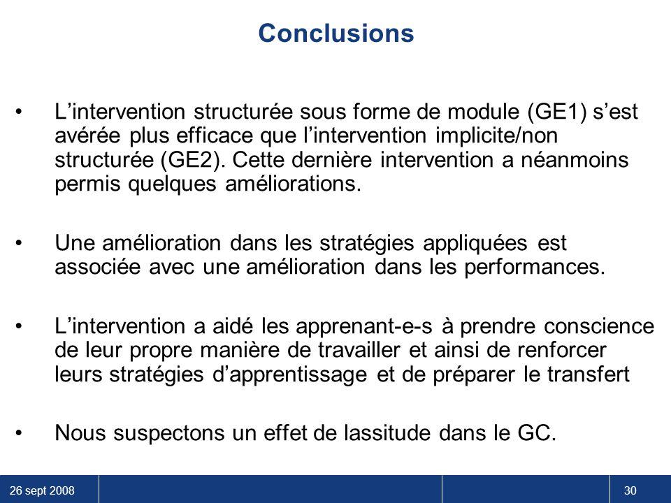 26 sept 2008 30 L'intervention structurée sous forme de module (GE1) s'est avérée plus efficace que l'intervention implicite/non structurée (GE2). Cet