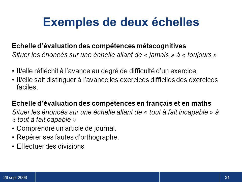 26 sept 2008 34 Exemples de deux échelles Echelle d'évaluation des compétences métacognitives Situer les énoncés sur une échelle allant de « jamais »