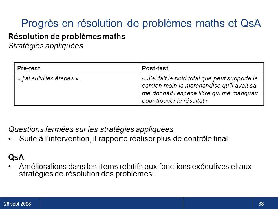 26 sept 2008 38 Progrès en résolution de problèmes maths et QsA Résolution de problèmes maths Stratégies appliquées Questions fermées sur les stratégi