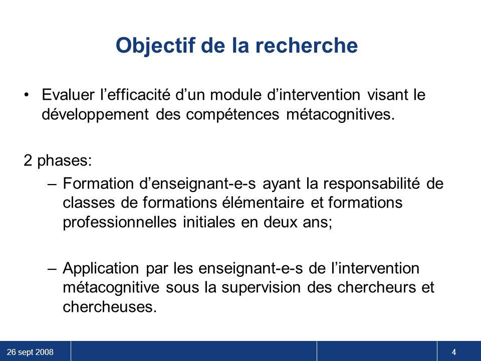26 sept 2008 4 Objectif de la recherche Evaluer l'efficacité d'un module d'intervention visant le développement des compétences métacognitives. 2 phas