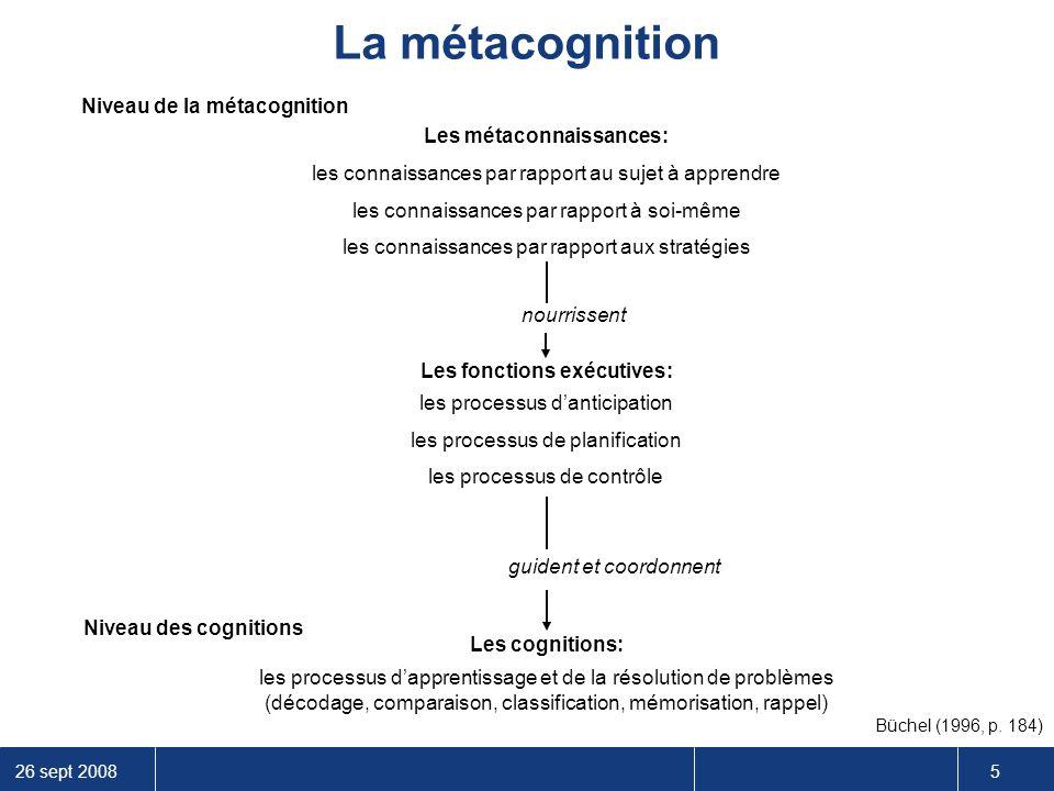 26 sept 2008 5 Niveau de la métacognition Niveau des cognitions Les métaconnaissances: Les fonctions exécutives: Les cognitions: les connaissances par