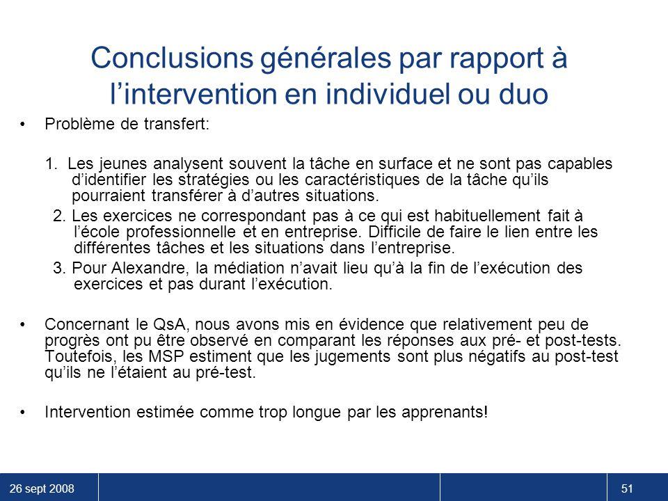 26 sept 2008 51 Conclusions générales par rapport à l'intervention en individuel ou duo Problème de transfert: 1. Les jeunes analysent souvent la tâch