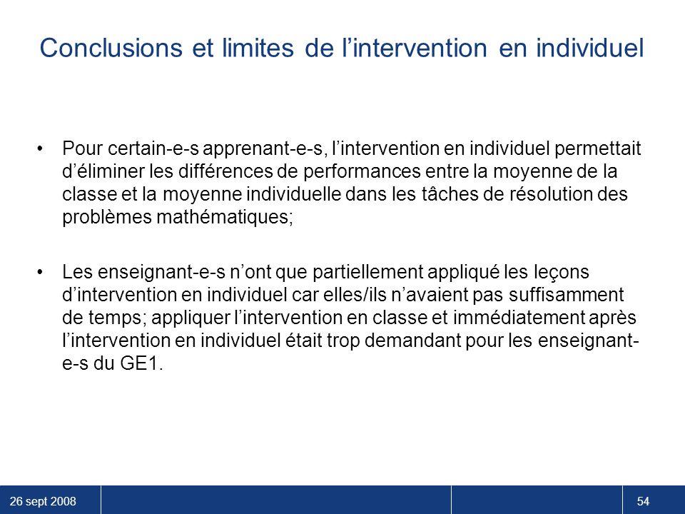 26 sept 2008 54 Conclusions et limites de l'intervention en individuel Pour certain-e-s apprenant-e-s, l'intervention en individuel permettait d'élimi