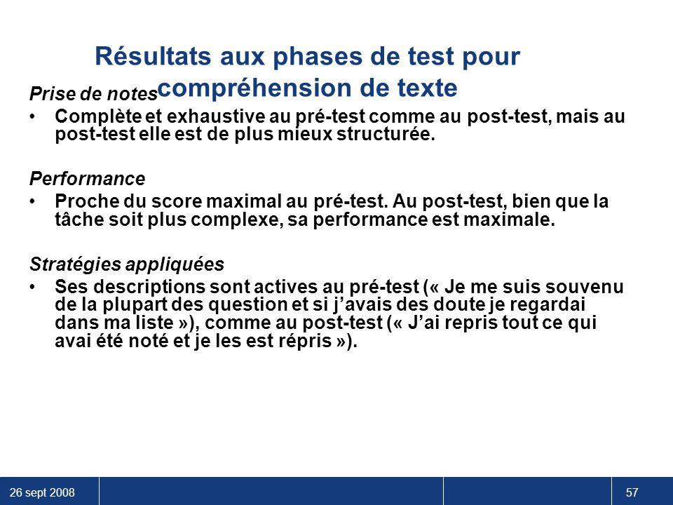 26 sept 2008 57 Résultats aux phases de test pour compréhension de texte Prise de notes Complète et exhaustive au pré-test comme au post-test, mais au