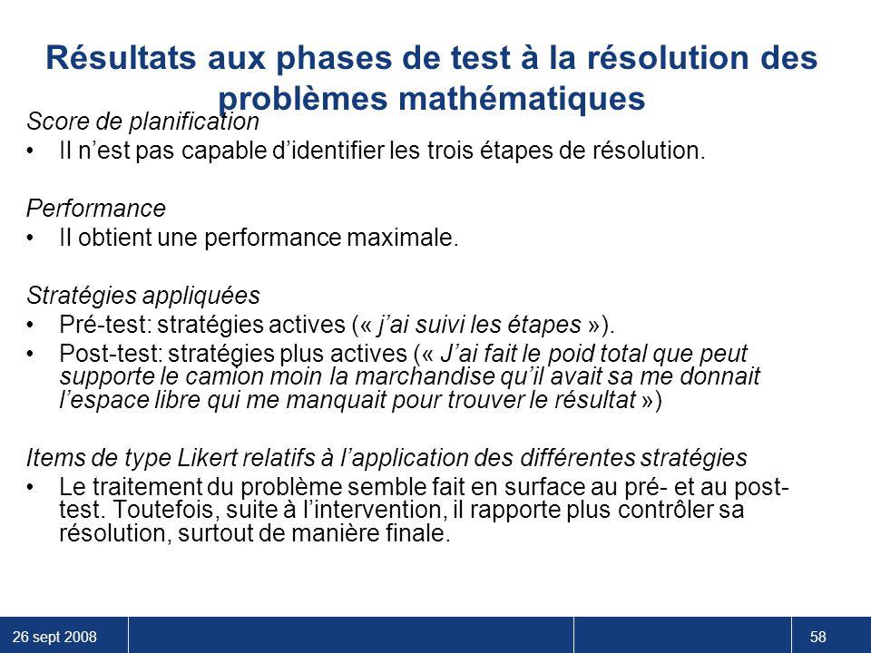 26 sept 2008 58 Résultats aux phases de test à la résolution des problèmes mathématiques Score de planification Il n'est pas capable d'identifier les