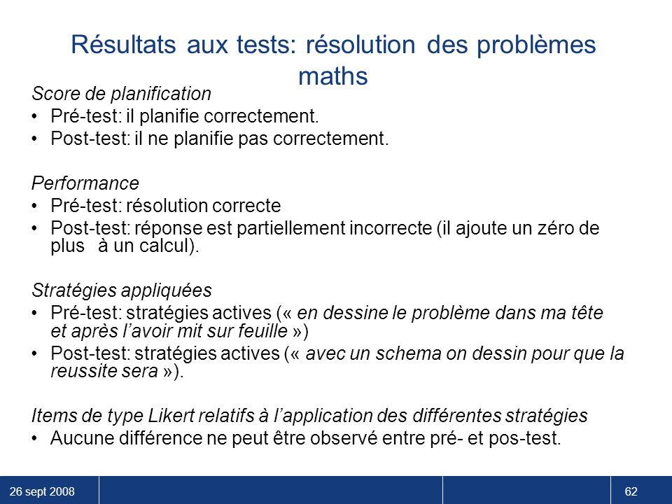 26 sept 2008 62 Résultats aux tests: résolution des problèmes maths Score de planification Pré-test: il planifie correctement. Post-test: il ne planif