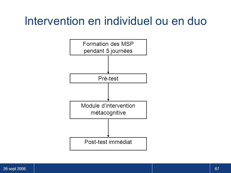 26 sept 2008 67 Formation des MSP pendant 5 journées Pré-test Module d'intervention métacognitive Post-test immédiat Intervention en individuel ou en