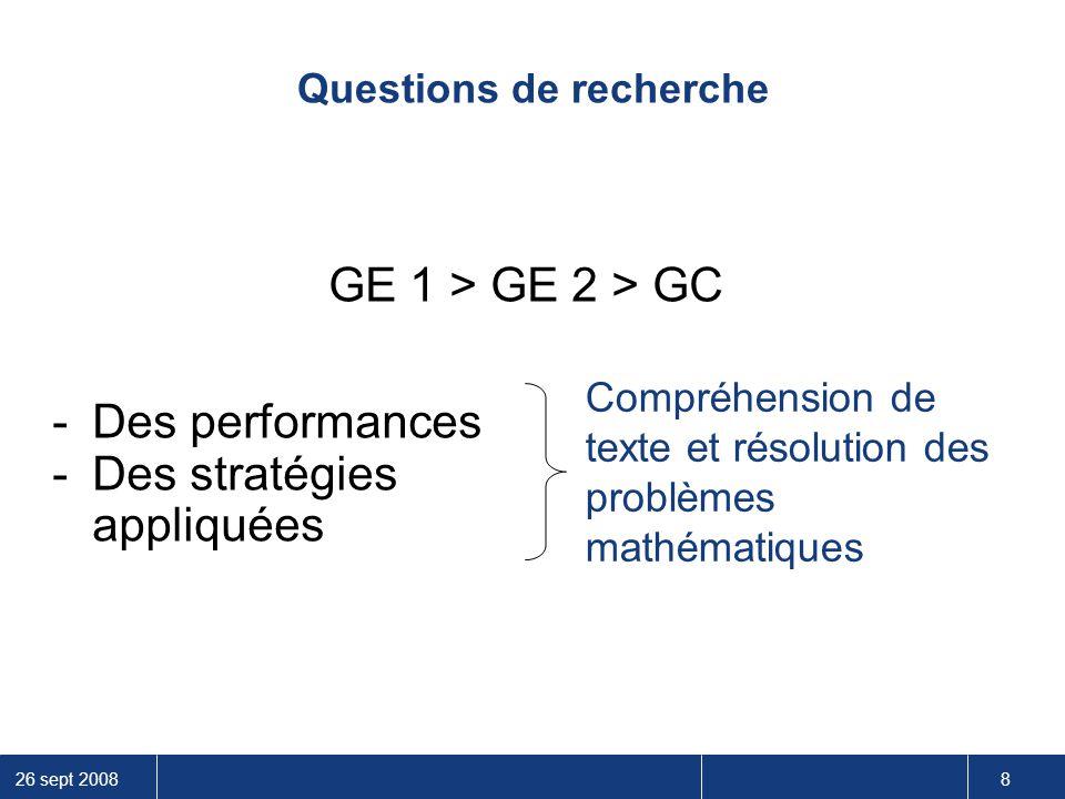 26 sept 2008 8 Questions de recherche GE 1 > GE 2 > GC -Des performances -Des stratégies appliquées Compréhension de texte et résolution des problèmes