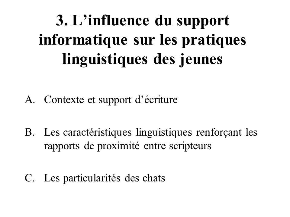 3. L'influence du support informatique sur les pratiques linguistiques des jeunes A.Contexte et support d'écriture B.Les caractéristiques linguistique