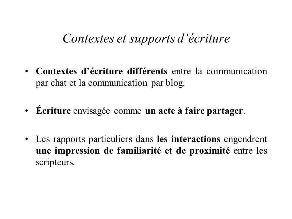 Contextes et supports d'écriture Contextes d'écriture différents entre la communication par chat et la communication par blog.