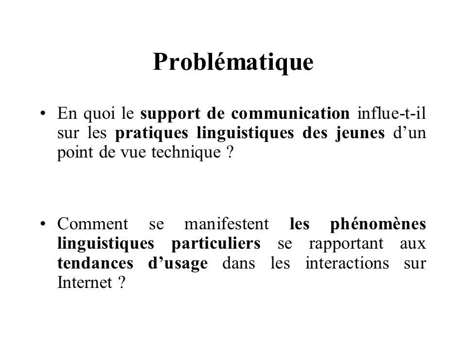 Problématique En quoi le support de communication influe-t-il sur les pratiques linguistiques des jeunes d'un point de vue technique .