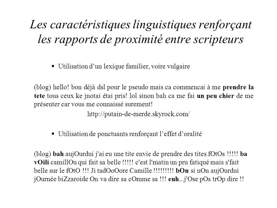 Les caractéristiques linguistiques renforçant les rapports de proximité entre scripteurs  Utilisation d'un lexique familier, voire vulgaire (blog) hello.