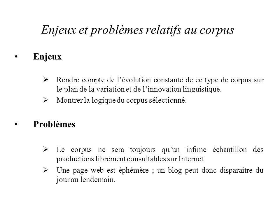 Enjeux et problèmes relatifs au corpus Enjeux  Rendre compte de l'évolution constante de ce type de corpus sur le plan de la variation et de l'innovation linguistique.