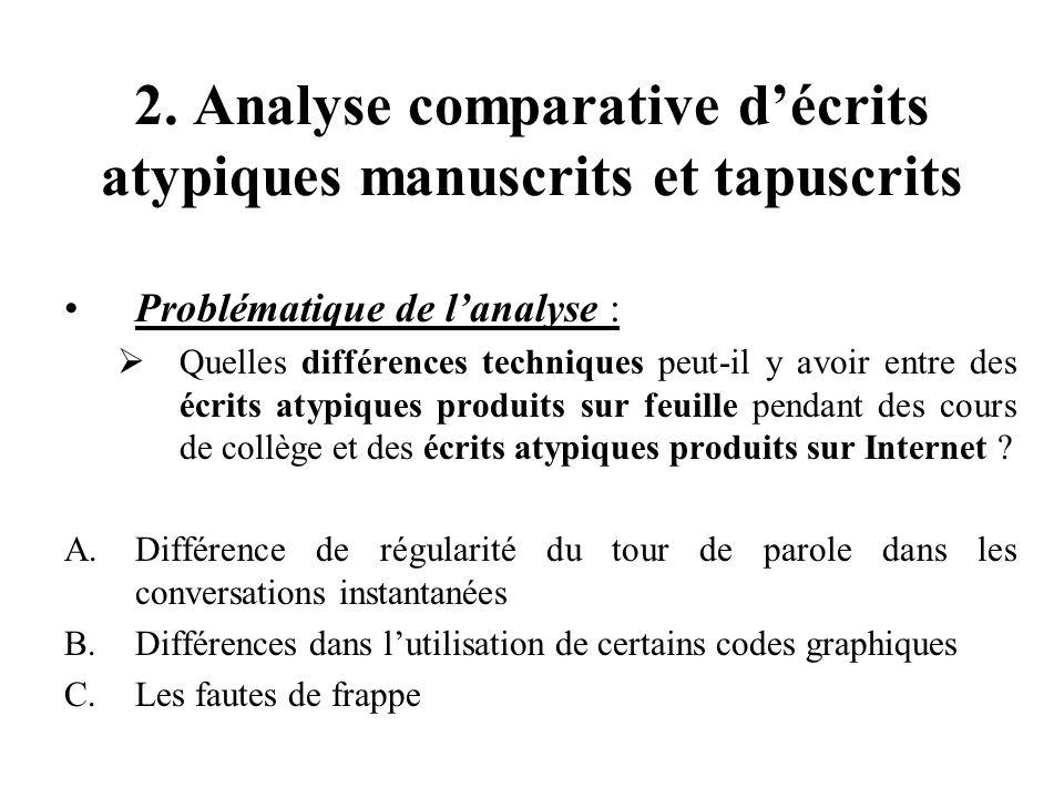 2. Analyse comparative d'écrits atypiques manuscrits et tapuscrits Problématique de l'analyse :  Quelles différences techniques peut-il y avoir entre