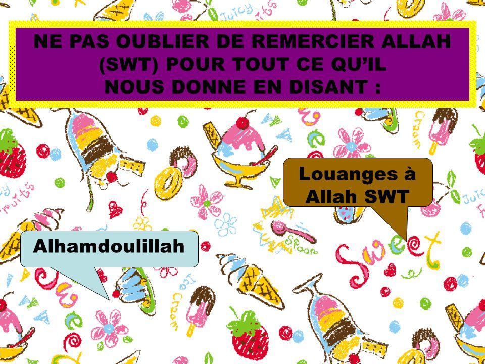 NE PAS OUBLIER DE REMERCIER ALLAH (SWT) POUR TOUT CE QU'IL NOUS DONNE EN DISANT : Alhamdoulillah Louanges à Allah SWT