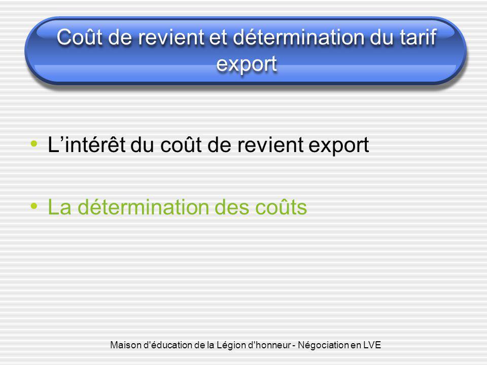 Maison d'éducation de la Légion d'honneur - Négociation en LVE Coût de revient et détermination du tarif export L'intérêt du coût de revient export La
