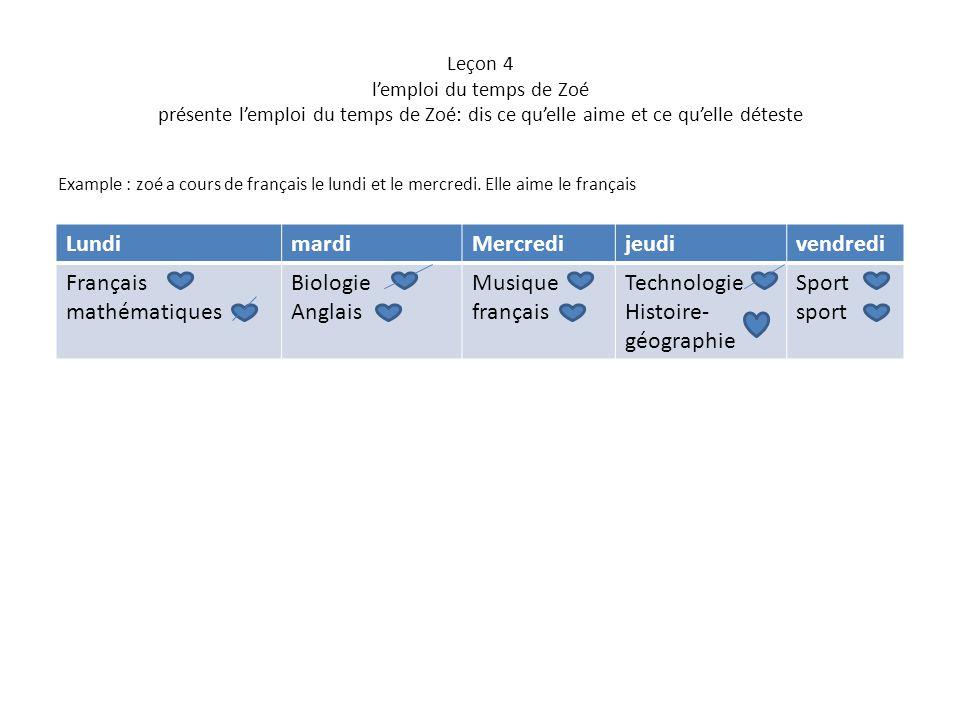 Leçon 4 l'emploi du temps de Zoé présente l'emploi du temps de Zoé: dis ce qu'elle aime et ce qu'elle déteste Example : zoé a cours de français le lun