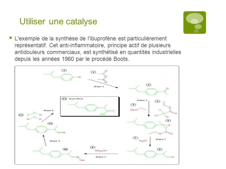 Utiliser une catalyse  L'exemple de la synthèse de l'ibuprofène est particulièrement représentatif. Cet anti-inflammatoire, principe actif de plusieu