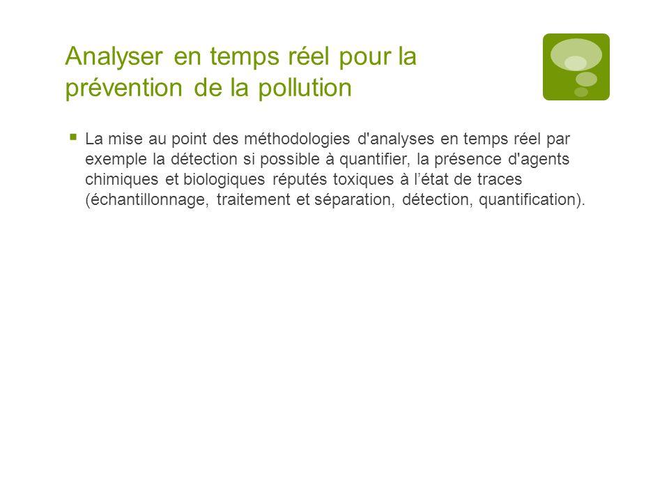 Analyser en temps réel pour la prévention de la pollution  La mise au point des méthodologies d'analyses en temps réel par exemple la détection si po
