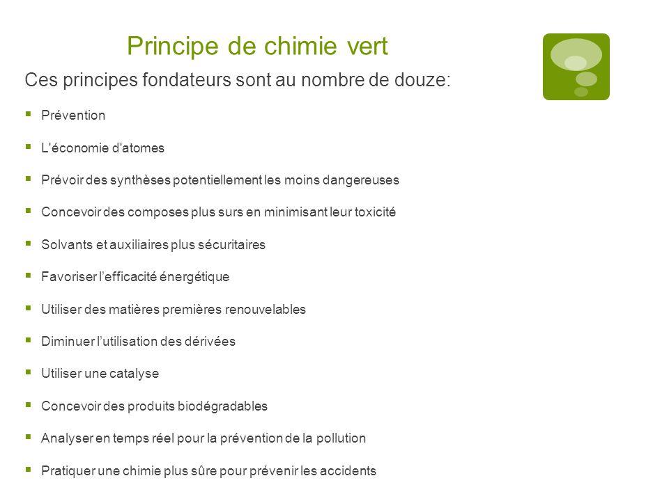 Principe de chimie vert Ces principes fondateurs sont au nombre de douze: PP révention LL 'économie d'atomes PP révoir des synthèses potentielle