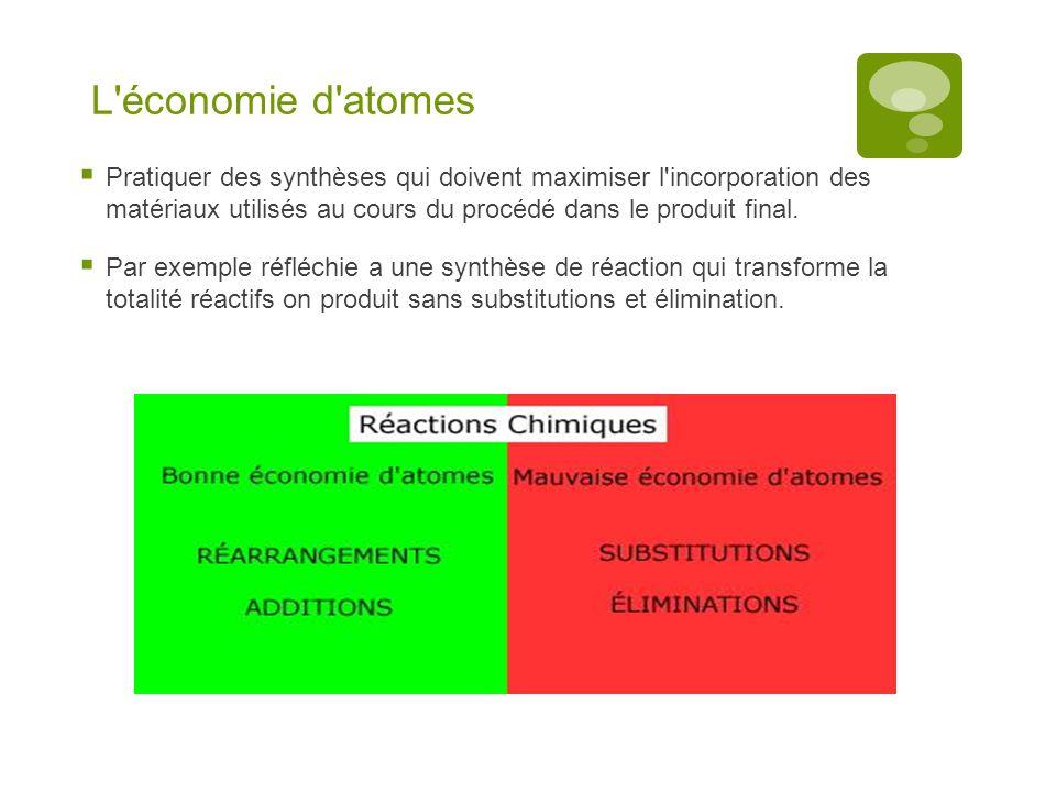 L'économie d'atomes  Pratiquer des synthèses qui doivent maximiser l'incorporation des matériaux utilisés au cours du procédé dans le produit final.