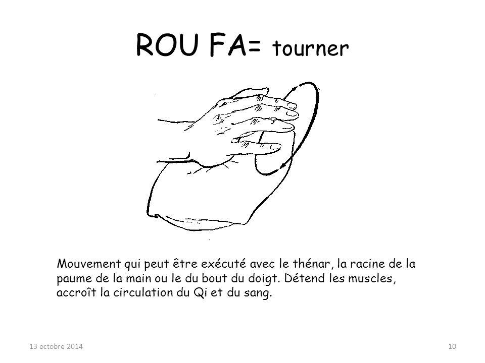 ROU FA= tourner Mouvement qui peut être exécuté avec le thénar, la racine de la paume de la main ou le du bout du doigt. Détend les muscles, accroît l