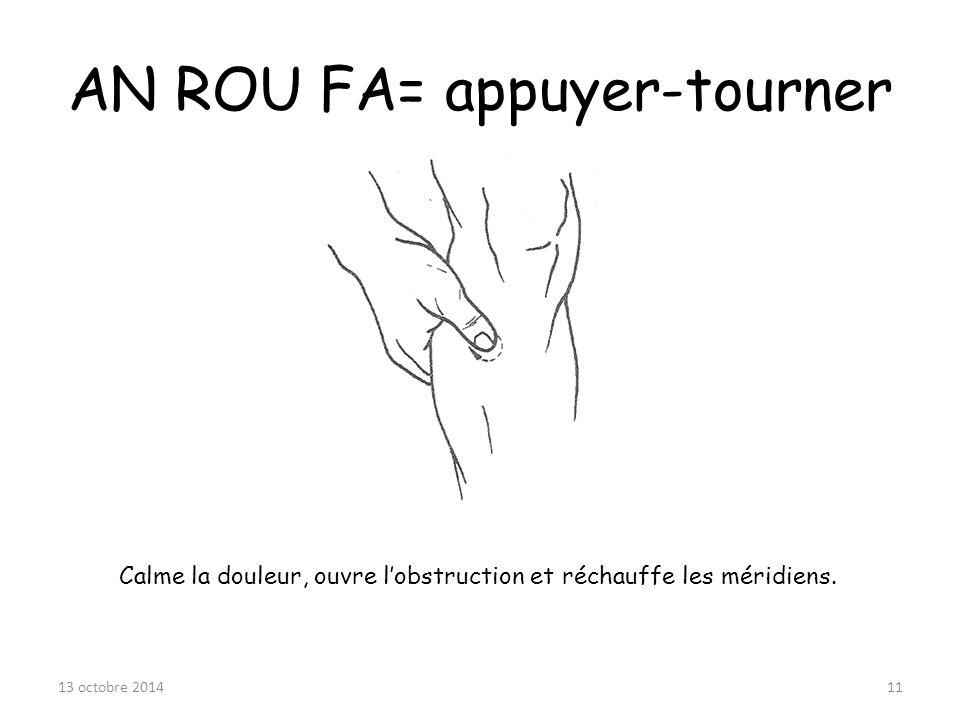 AN ROU FA= appuyer-tourner Calme la douleur, ouvre l'obstruction et réchauffe les méridiens. 13 octobre 201411