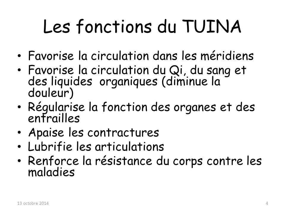 Les fonctions du TUINA Favorise la circulation dans les méridiens Favorise la circulation du Qi, du sang et des liquides organiques (diminue la douleu