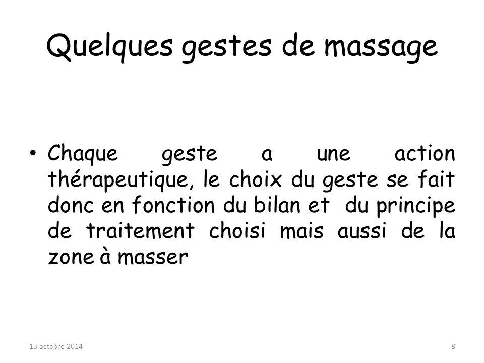Quelques gestes de massage Chaque geste a une action thérapeutique, le choix du geste se fait donc en fonction du bilan et du principe de traitement c