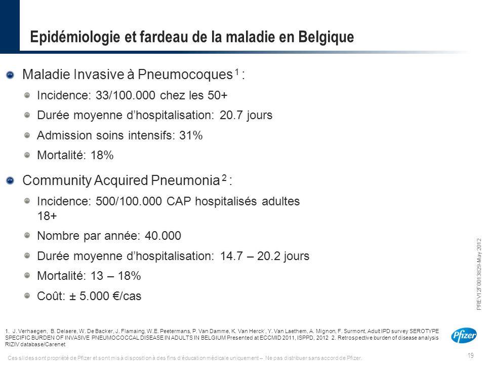 19 PREV12F0013829-May 2012 Ces slides sont propriété de Pfizer et sont mis à disposition à des fins d'éducation médicale uniquement – Ne pas distribue