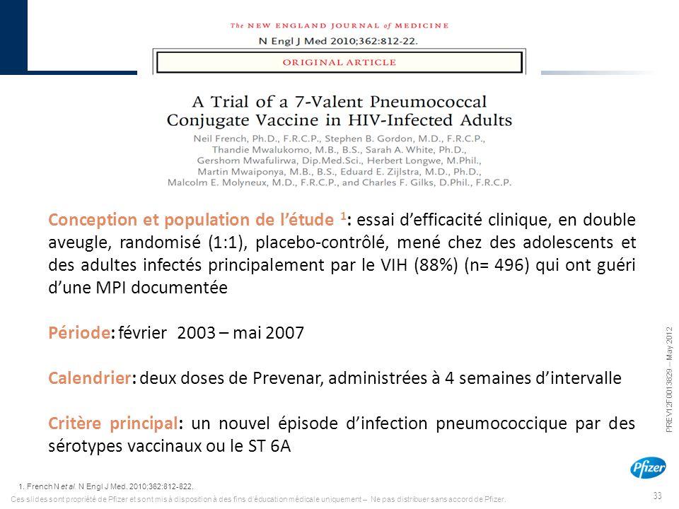 33 PREV12F0013829 – May 2012 Ces slides sont propriété de Pfizer et sont mis à disposition à des fins d'éducation médicale uniquement – Ne pas distrib