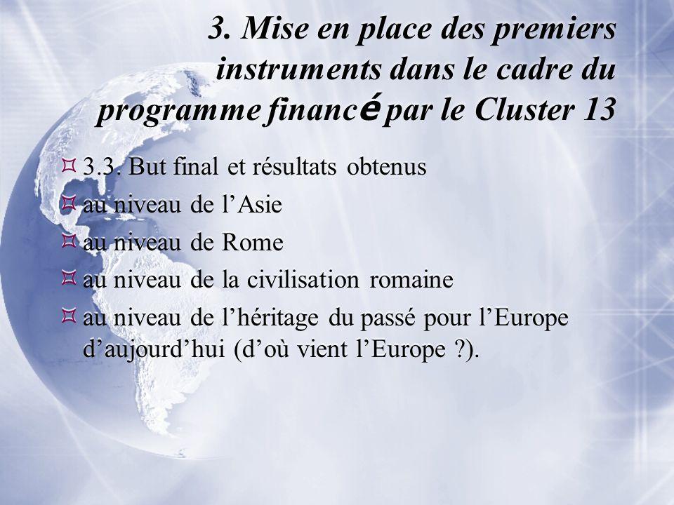 3. Mise en place des premiers instruments dans le cadre du programme financ é par le Cluster 13  3.3. But final et résultats obtenus  au niveau de l