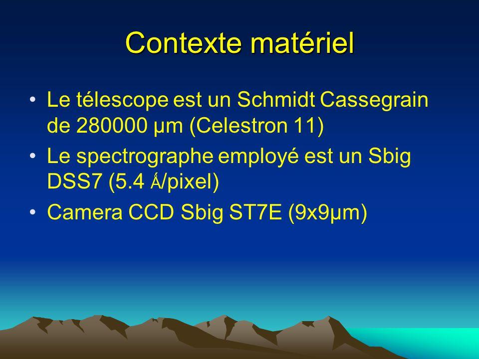 Contexte matériel Le télescope est un Schmidt Cassegrain de 280000 µm (Celestron 11) Le spectrographe employé est un Sbig DSS7 (5.4 Ǻ /pixel) Camera CCD Sbig ST7E (9x9µm)