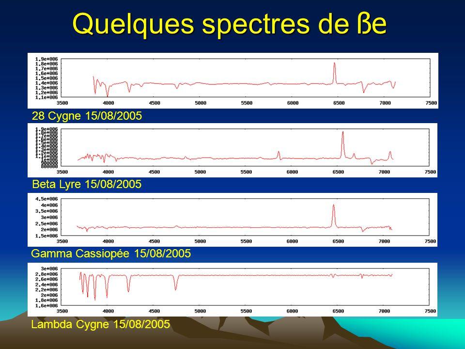 Quelques spectres de ße 28 Cygne 15/08/2005 Beta Lyre 15/08/2005 Gamma Cassiopée 15/08/2005 Lambda Cygne 15/08/2005