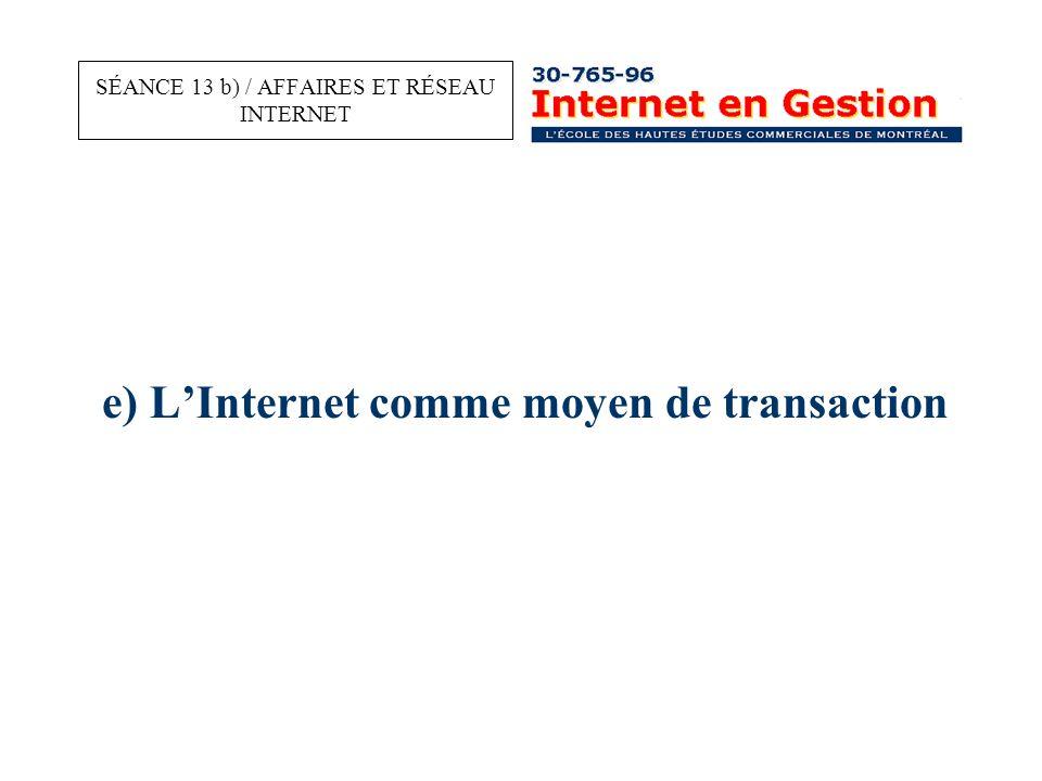 e) L'Internet comme moyen de transaction SÉANCE 13 b) / AFFAIRES ET RÉSEAU INTERNET