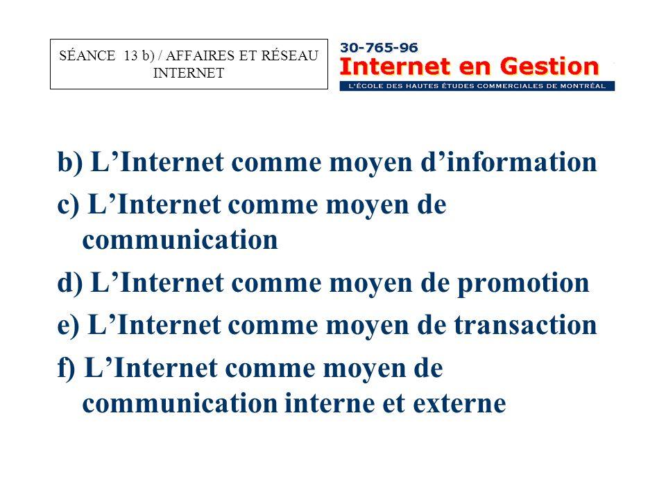 b) L'Internet comme moyen d'information c) L'Internet comme moyen de communication d) L'Internet comme moyen de promotion e) L'Internet comme moyen de transaction f) L'Internet comme moyen de communication interne et externe SÉANCE 13 b) / AFFAIRES ET RÉSEAU INTERNET