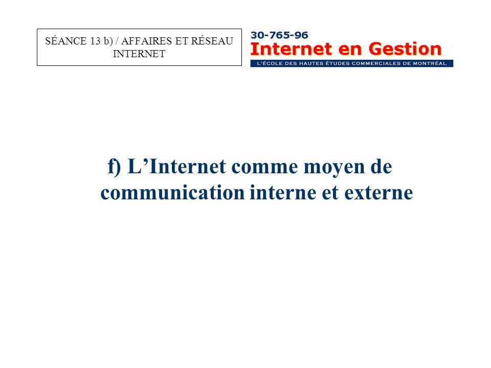 f) L'Internet comme moyen de communication interne et externe SÉANCE 13 b) / AFFAIRES ET RÉSEAU INTERNET