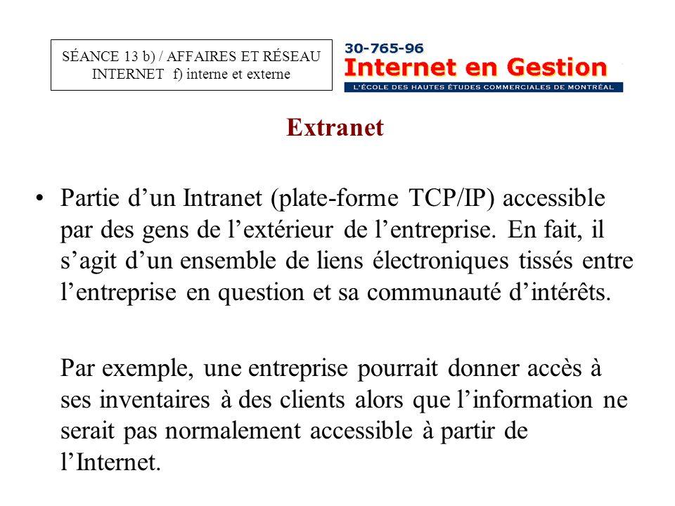 Extranet Partie d'un Intranet (plate-forme TCP/IP) accessible par des gens de l'extérieur de l'entreprise.